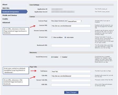 Facebook Integráció